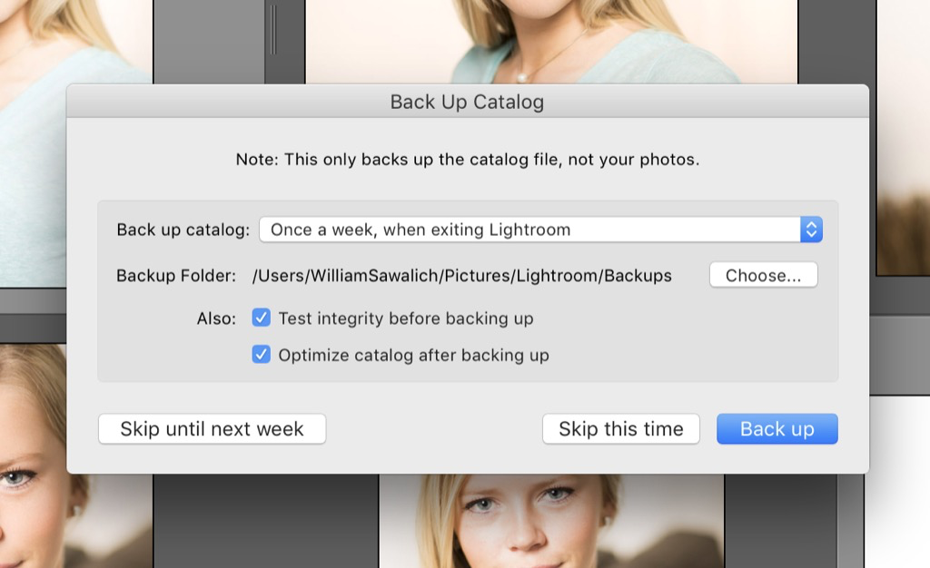 delete backups in Lightroom