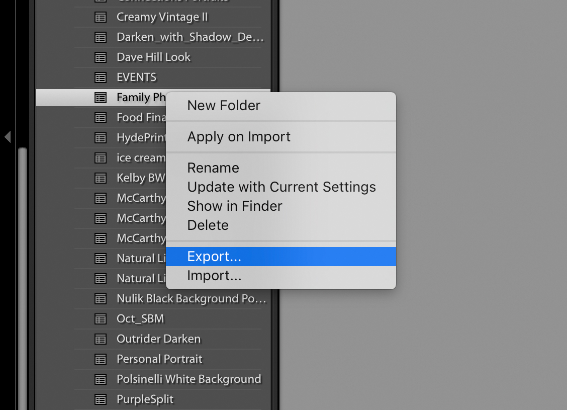 Importing and Exporting Photoshop and Lightroom Presets