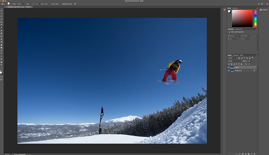 Step 3: First two images stacked and creating two separate layers.