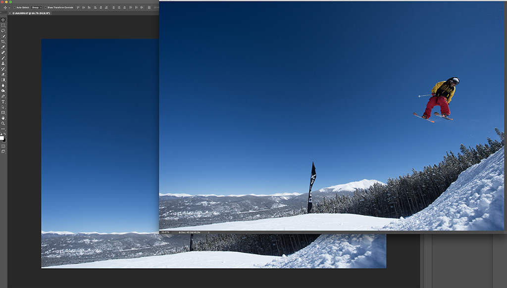 Step 2: Getting ready to put one image on top of the first image in sequence.