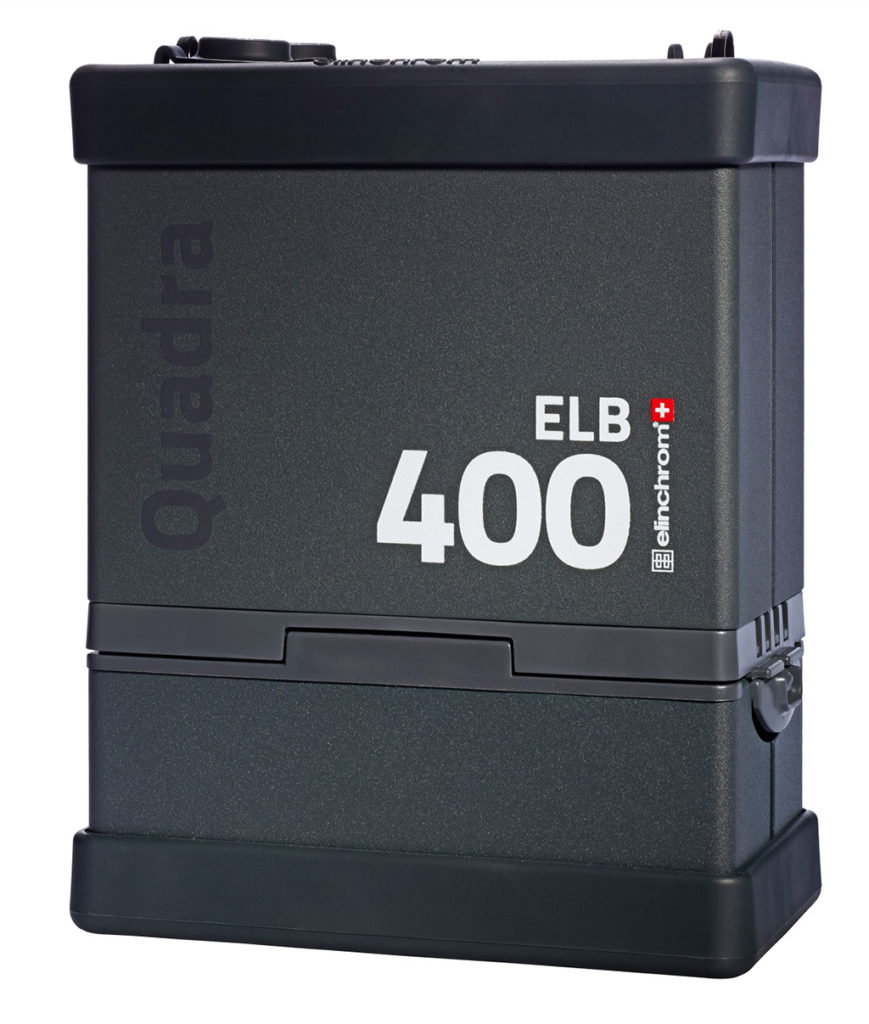 This Elinchrom ELB400 is an example of a studio pack system that runs off of battery power.